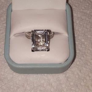 Ross Simons filigree rectangle white topaz ring